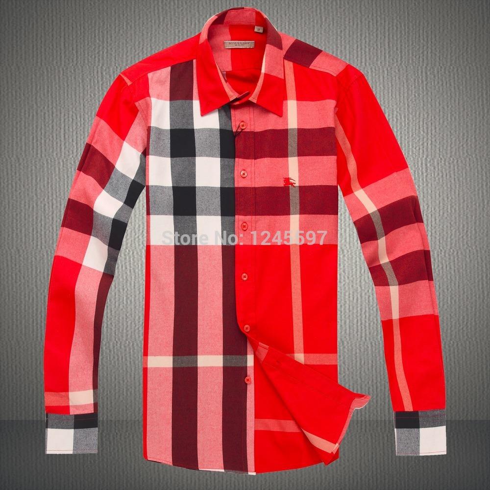 Famous-Luxury-Brand-Men-s-Shirt-Plaid-Checker-Men-Clothing-Long-Sleeve