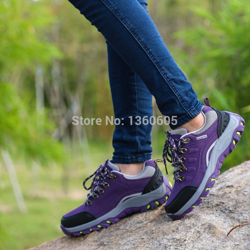 Women's cow leather high top hiking boots antiskid waterproof Trekking Shoes 2 colors
